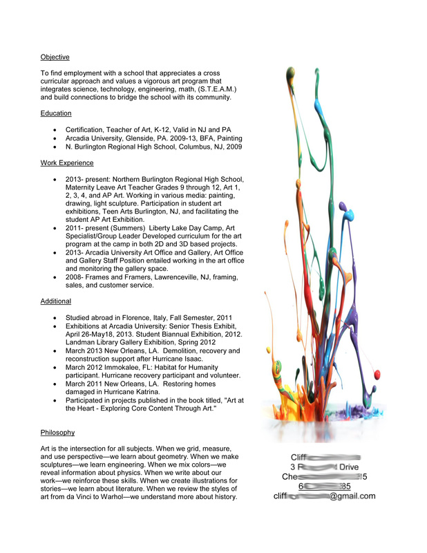Wonderful ... Skills As A Teacher And The Connections Art Makes To Other Areas. I  Have Uploaded Some More Simple Ideas Below. These Are Not Final Samples, ... Idea Art Teacher Resumes